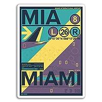 2×10センチメートルマイアミエアポートビニールステッカー - フロリダステッカーノートパソコンの荷物の#17149(10センチメートルトール)