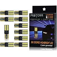 FASTCAR T10 W5W CANBUSキャンセラー内蔵LED DC12V 4014SMD 24連 無極性ポジション ナンバー灯 ホワイト 両面発光 10個セット
