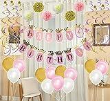 Mainiusi 誕生日 飾り付け セット 女の子 風船 バルーン HAPPY BIRTHDAY ガーランド ペーパーフラワー 1歳 バースデー パーティー デコレーション 生日会 祝い 装飾 ピンク、ゴールド 女性 人気 飾り