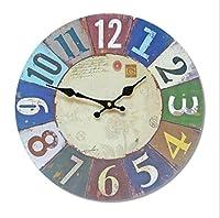 シンプルな素朴なスタイルの掛け時計、レトロな色の木製の掛け時計リビングルームの壁の寝室のミュート掛け時計、34 * 34 cm