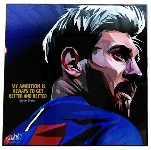 リオネル・メッシ FCバルセロナ デザインD 海外サッカーグラフィックアートパネル 木製ポスター インテリア