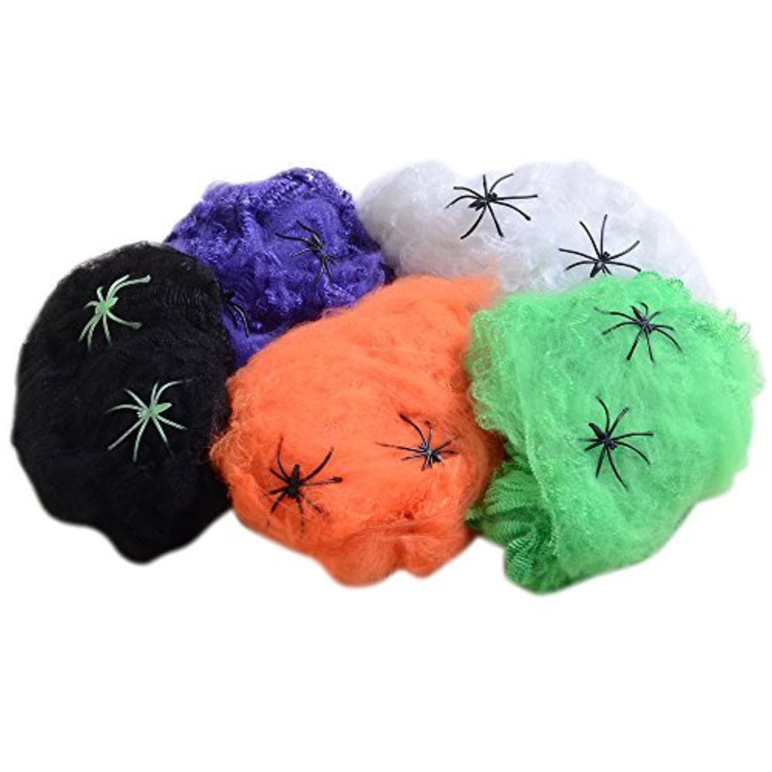 QBSM Halloween 5 PCS Multi-Colored Spider Webs Spiderwebs Cobweb With Plastic Spiders Party Home Garden Yard Decoration [並行輸入品]