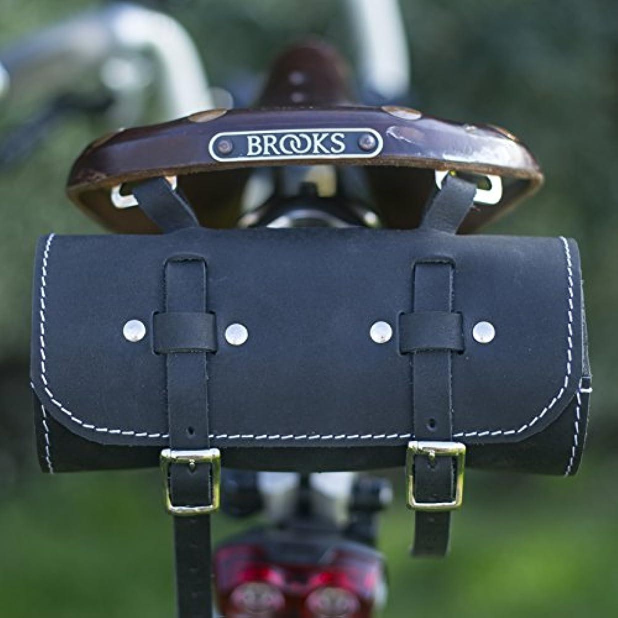 病気のメッセンジャーペレグリネーションサドル/ハンドルバーロールバッグ本物の革ブラック用自転車ツールクラシックロールバッグ Roll SADDLE Bag Real Leather ROL-BL-WH