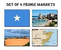 セットの4ソマリア冷蔵庫マグネット冷蔵庫マグネット–Somalia FlagソマリアマップソマリアAttractions