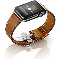 EloBeth Apple Watch バンド 本革ベルト スマートウォッチ for Apple Watch Series 3&2&1 (42mm ブラウン)