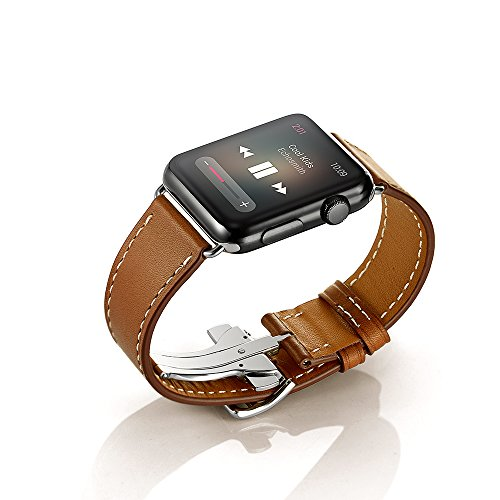 Kartice Apple Watchスマートウォッチバンド Deployment Buckle高級レザー製ベルト アップルウォッチ新型バンド Apple Watch/Apple Watch Series 2に対応 (42mm, single tour ブラウン)