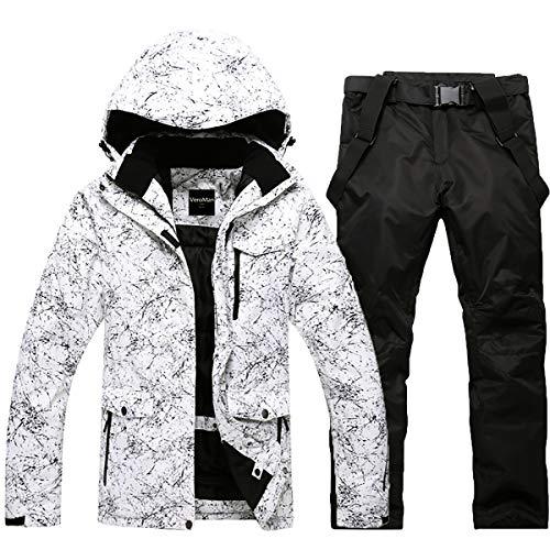 VeroMan スノーボード スキー ウェア 上下セット メンズ レディース スノボー ウエア (ホワイト×ブラック, ...