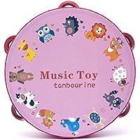 幼児期のゲーム 18cmベビーハンドドラムウッドフラワータンバリンパーカッション楽器(動物園)