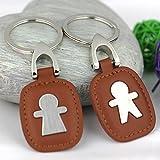 Maycom 創造的なファッションドールブラウン色の革のカップルのキーホルダー キーチェーン 掛けかぎ キーサークル 鍵釦 恋人のプレゼント