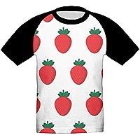 赤い イチゴ かっこいい ベビー フロントプリント半袖 Tシャツ快適 子供 夏 トップ おもしろい 上着