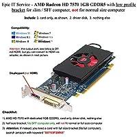 Epic itサービス–AMD Radeon HD 75701GB 1024MB gddr5低プロファイルビデオカードwith Displayポート、DVIのSFF /スリムサイズコンピュータ
