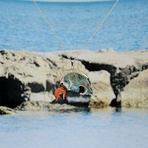 【海老で鯛を釣る】 エビ & タイ ペンダント 夜光貝 & 桃色珊瑚製