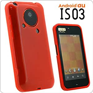 Android au★IS03専用ハーフクリアTPUケース(オレンジ)  F70-A01OR