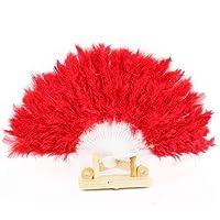 SGings 女性のハンドヘルドファンフェザーファン用ダンス小道具ハンドグースフェザー折りたたみファンウェディングダンスパーティーウエディング伝統的な絶妙なギフトパーティーの装飾 (赤)