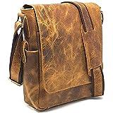 PURPLE RELIC: 11-inch Leather Man Bag ~ Tablet Bag ~ Crossbody Messenger Satchel (2 Rugged Tan)