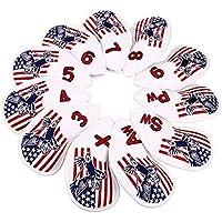 ヘッドカバー アイアンカバー 最新デザイン 高級pu革 アメリカ刺繍入り 11個セット