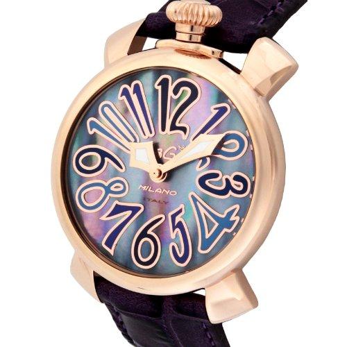 [ガガミラノ]GaGa MILANO 腕時計 マニュアーレ40mm ブルーパール文字盤 ステンレス(PGPVD)ケース カーフ革ベルト 5021.9-PUR  【並行輸入品】