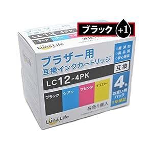 (まとめ)ワールドビジネスサプライ 【Luna Life】 ブラザー用 互換インクカートリッジ LC12-4PK ブラック1本おまけ付き 5本パック LN BR12/4P BK+1【×3セット】 ds-1621362