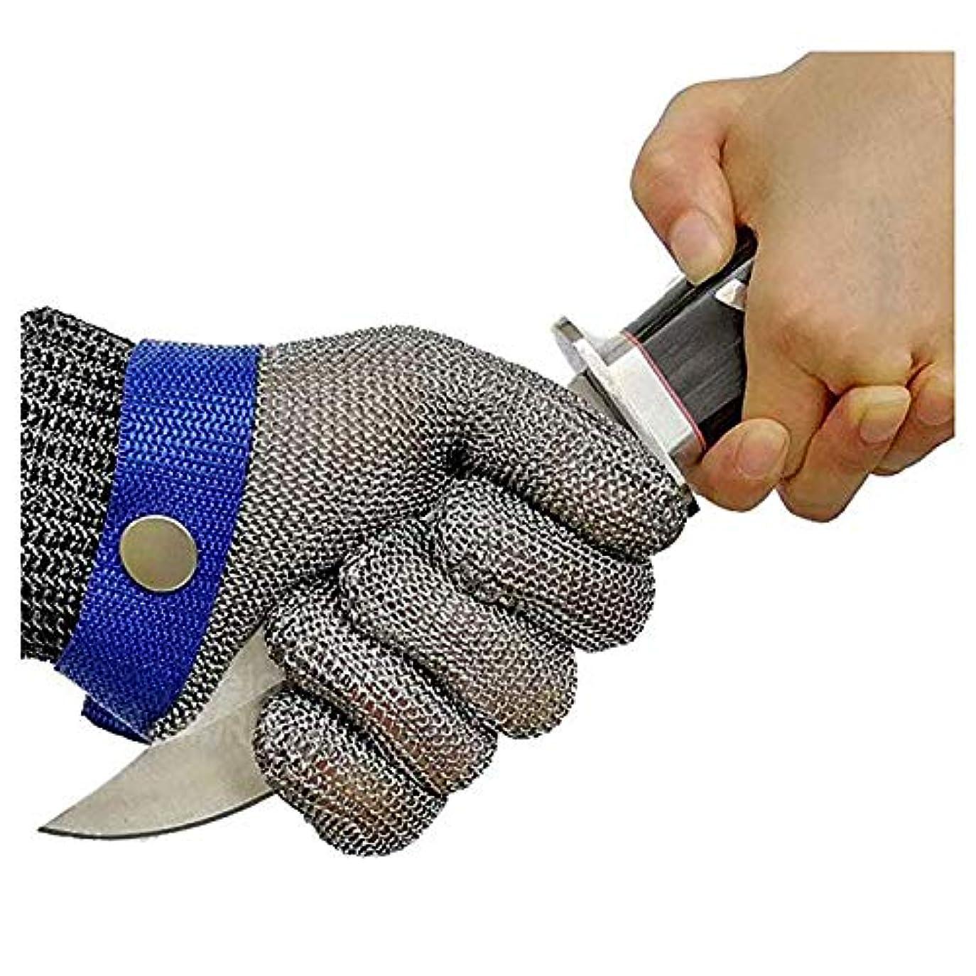 無心稚魚激怒食肉加工、釣り用のカット耐性の手袋、ステンレス鋼線メタルメッシュブッチャー安全作業手袋,M