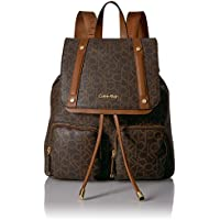 Calvin Klein Women's Belfast Front Pocket Backpack, Brown/Khaki Monogram