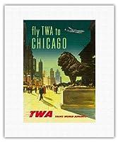 シカゴ - TWA (トランス・ワールド航空) - ビンテージな航空会社のポスター c.1950s - キャンバスアート - 28cm x 36cm キャンバスアート(ロール)