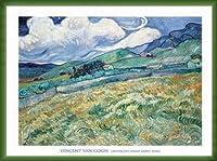 ポスター フィンセント ファン ゴッホ Landscape from Saint-Remy 1889 額装品 ウッドベーシックフレーム(グリーン)