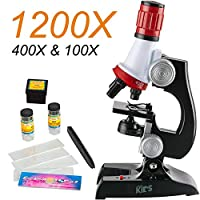 LVESHOP 100X-1200X LEDキッズ初心者顕微鏡玩具セット+スライド準備キット