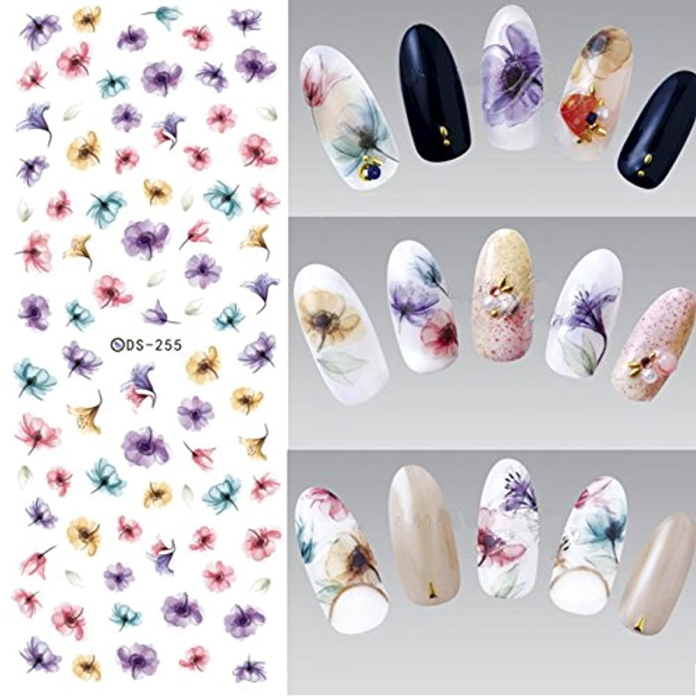 海里甘いタオル3PCS Flowers Nail Art Stickers Polish UV Gel Stickers Nail Tips Decorations Water Transfer Stickers For Nail Design Watermark