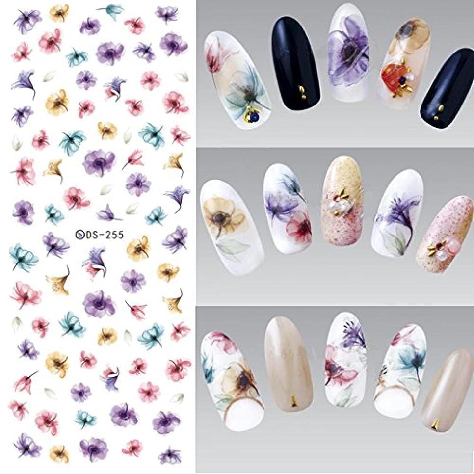 バング小間フィードオン3PCS Flowers Nail Art Stickers Polish UV Gel Stickers Nail Tips Decorations Water Transfer Stickers For Nail Design Watermark