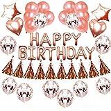 誕生日 飾り付け きらきら風船 バースデー デコレーション セットHAPPY BIRTHDAY シャンパンカラー紙吹雪入れ バルーン パーティー お祝い