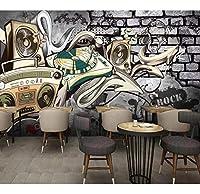 Xueshao カスタムヨーロッパレトロヒップホップ落書きバーKtv背景壁紙壁画-400X280Cm
