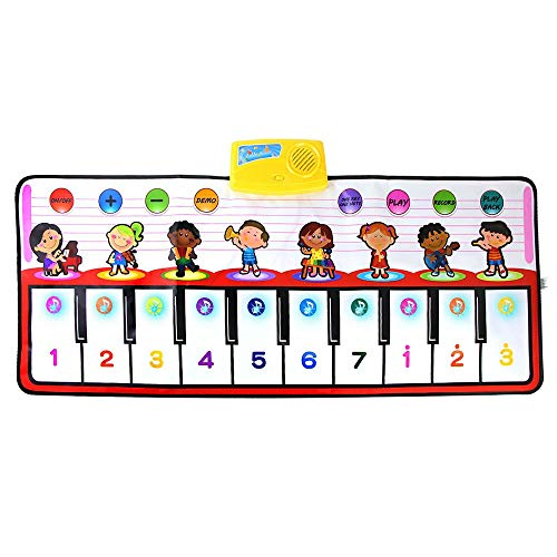 Coolplay ピアノ おもちゃ 音楽マット 8種の楽器 厚くする タップピアノ 折り畳みキーボード 録音 再生 ライト