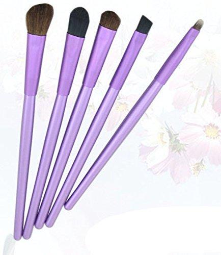 NN.HRD メイクブラシ セット 柔らか やさしい肌触り おしゃれな チューブ ケース makeup brush set ( パープル 5set )