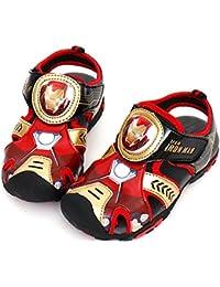 [アベンジャーズ] Marvel Avengers ヒーロー ボーイズ サンダル マジックテープ ピカピカ 光る靴 [並行輸入品]