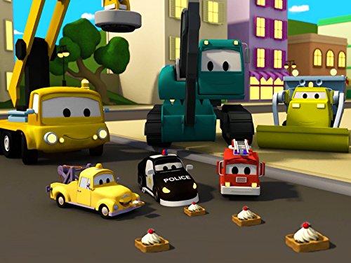 建設チーム: ダンプトラック、クレーン車とショベルカーがカーシティーにワッフル工場&お掃除ロボットを建てる
