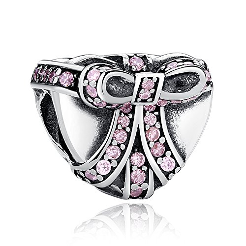 スターリングシルバー SILVER 925 ハート&リボン ピンクCZジュエル ヨーロピアンスタイル ビーズ パンドラ チャーム ブレスレット (Pandora Charm Bracelet) に使用可能