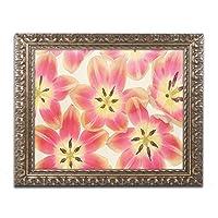 商標FineアートイエローとコーラルレッドチューリップbyコーラNieleゴールド装飾フレーム 16x20 ALI1802-G1620F