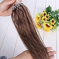 FidgetGear 8AマイクロループリングはシリコーンのRemyの人間の毛髪延長16-26Inchストレートをつなぎます #06ダークチョコレートブラウン