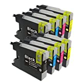 【むさしのメディアオリジナル】 BROTHER 互換LC12-4PK x2(4色セット x 2パック・ブラック顔料 互換インク)インクカートリッジ ブラザー互換 [フラストレーションフリーパッケージ(FFP)]