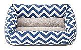True&color ペットベッド クッション マット スクエア 洗える 小型犬 猫 ギザギザ S ブルー