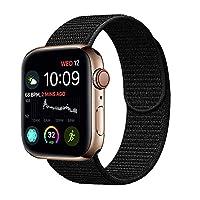 METEQI バンド 対応 Apple Watch、フックファスナー付き新しいナイロンスポーツループバンドストラップ交換バンドアップルウォッチシリーズ 適応 iWatch Series 4/3/2/1(42mm/44mm, 黒)