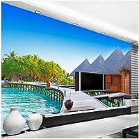 Xbwy 壁紙3Dステレオシーサイド風景木製橋写真壁紙カフェダイニングルーム-250X175Cm