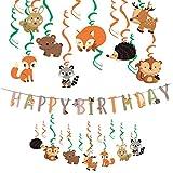 Easy Joy 動物園テーマ 誕生日飾り付けセット 誕生日ガーランド ハンギングスワール (セット)