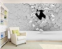 Mbwlkj 近代的な 3D Hd カスタム壁紙大きなステレオの抽象的なリビングルーム、ベッドルームの背景の壁の壁画の石壁の亀裂の壁紙模-450Cmx300Cm