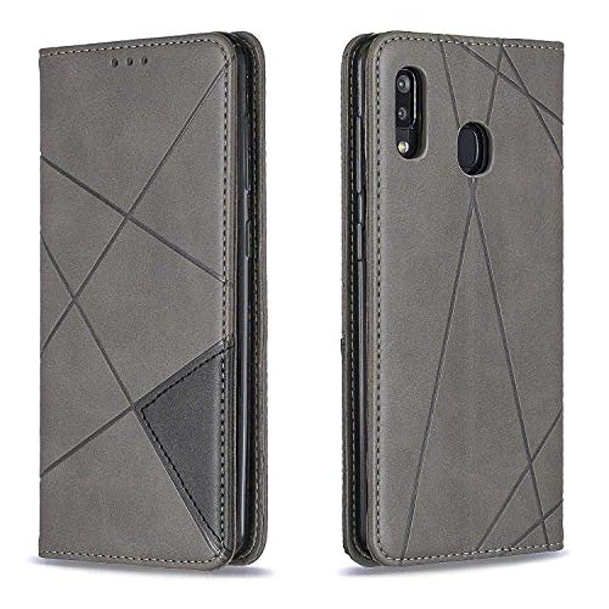 国旗無秩序ゴミ箱CUSKING Galaxy A30 / A20 ケース, 高級 Samsung Galaxy A30 / A20 手帳型 スマホケース, PUレザー フリップ ノート型 カード収納 付き保護ケース, グレー