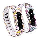kwmobile2IN1セット: 2x スポーツ 予備用アームバンド Fitbit One用 花 ドット 多??色 ?? 白, フラワー パワー 多??色 ?? 白 寸法 : 約 13 - 20 cm
