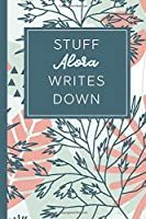 Stuff Alora Writes Down: Personalized Journal / Notebook (6 x 9 inch) STUNNING Tropical Teal and Blush Pink Pattern