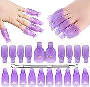 Makartt Gel Nail Polish Remover Clips Kit with 20 Pcs Resuable Finger and Toenail Acrylic Nail Polish Remover
