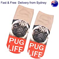Pug Life Low Cut Dog Socks - Loyal Puppy Look Thug Life Carefree Novelty Sock