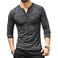 2865c331335 KUYIGO Mens Casual Slim Fit Basic Henley Long Sleeve T-Shirt